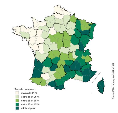 Carte du taux de boisement en France