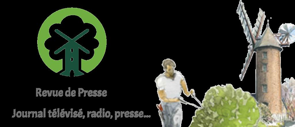 Bannière de la pépinière du val d'erdre revue de presse JT, radio, presse... logo avec un homme qui taille un arbuste près du moulin.